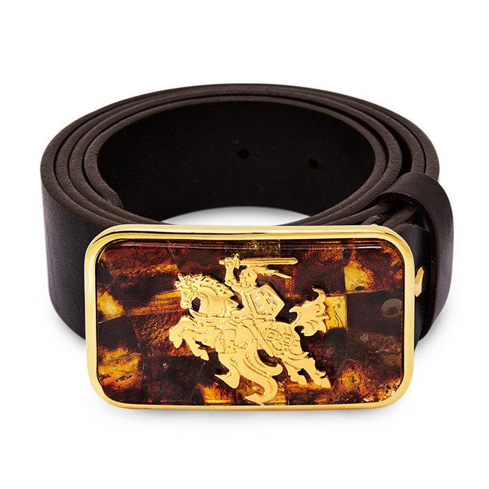 Sagtis: Vytis su gintaru, dengtas auksu/ Diržas: odinis