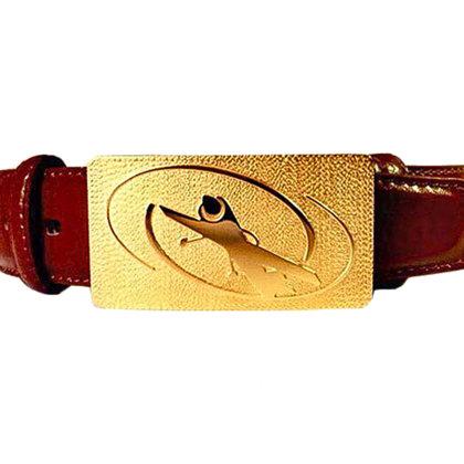 Diržo sagtis pagaminta iš žalvario padengta 24karatu auksu. Diržas: oda